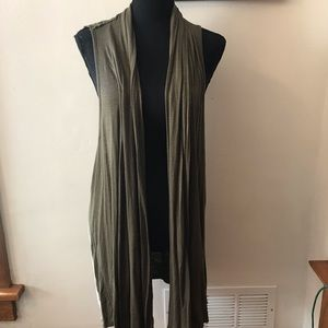 Maurices Olive Green Cardigan Vest; Size 1X